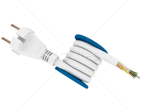 Eléctrica plug cable aislado blanco tecnología Foto stock © anyunoff