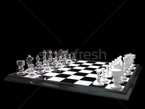 Tablero de ajedrez negro deporte jugar juegos rey Foto stock © anyunoff