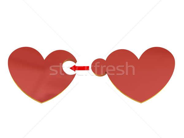 Kalpler bilmece iki kırmızı yalıtılmış beyaz Stok fotoğraf © anyunoff
