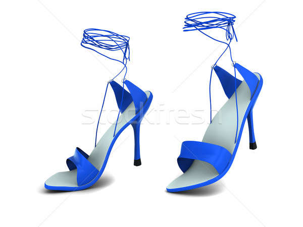 Stok fotoğraf: Kadın · ayakkabı · iki · mavi · yalıtılmış · beyaz
