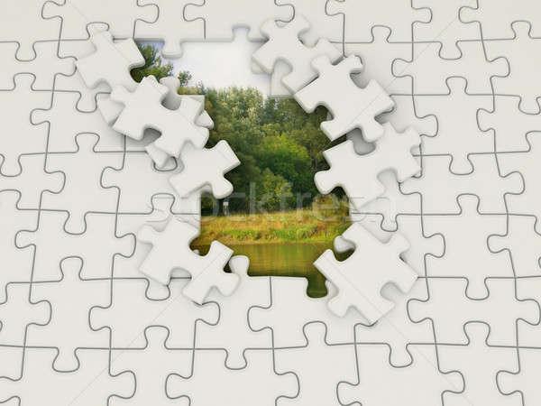 Puzzel natuur foto verborgen meer bomen Stockfoto © anyunoff