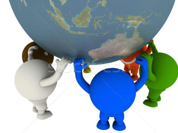 Stock photo: Group of smileys supported the Globe