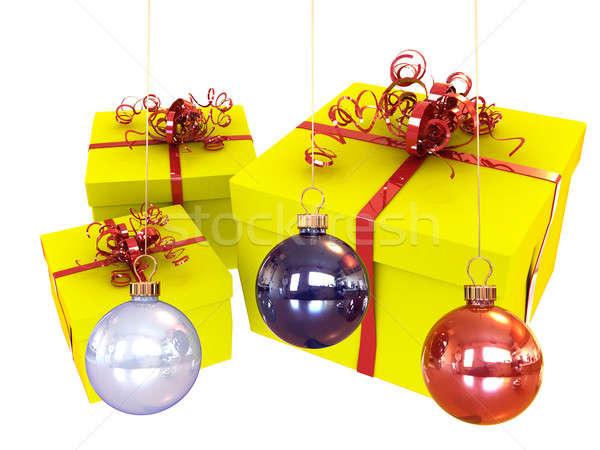 Decoraciones árbol de navidad presente color Navidad Foto stock © anyunoff