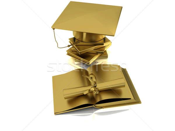 Agglegény arany arany sapka diploma nyitva Stock fotó © anyunoff