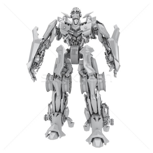 Robot transzformátor izolált fehér 3d render technológia Stock fotó © anyunoff