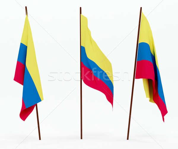 Zászló Ecuador fehér kultúra tárgyak szalag Stock fotó © anyunoff