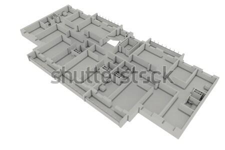 Stock fotó: Alaprajz · ház · izolált · fehér · 3d · render · építkezés