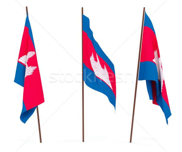 Bayrak Kamboçya beyaz kültür afiş bekçi Stok fotoğraf © anyunoff