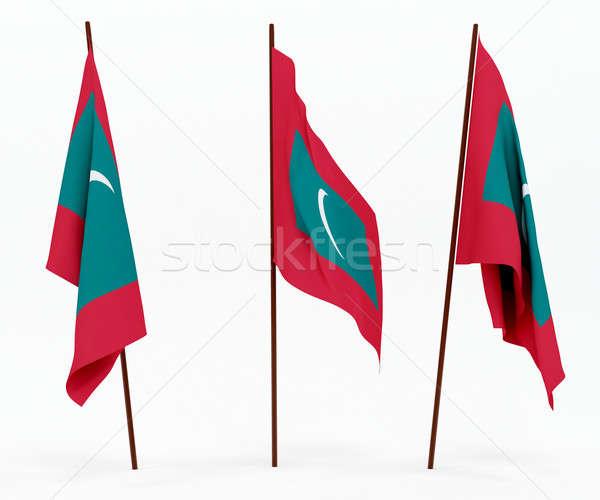 Bayrak Maldivler beyaz kültür nesneler afiş Stok fotoğraf © anyunoff