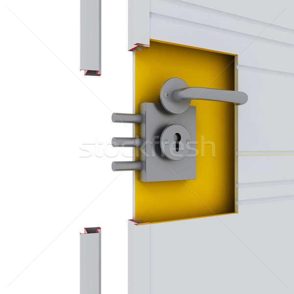 Puerta fragmento manejar bloqueo seguridad acero Foto stock © anyunoff