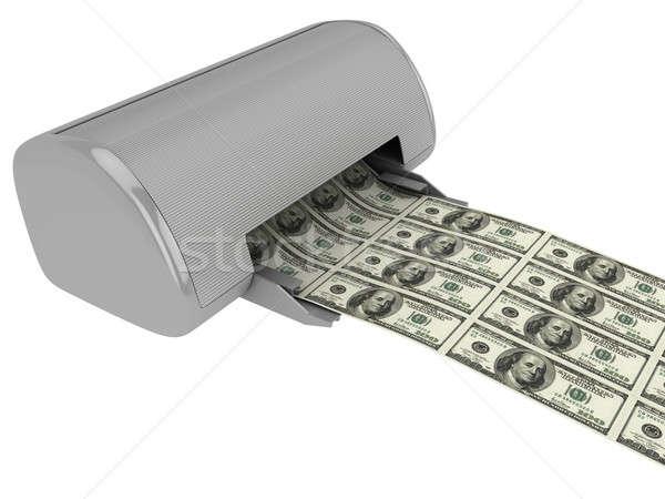Stok fotoğraf: Yazıcı · dolar · yalıtılmış · beyaz · iş
