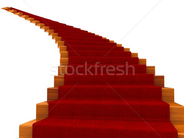 Stok fotoğraf: Spiral · basamak · halı · yalıtılmış · beyaz