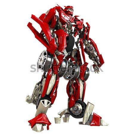 Transformador robot aislado blanco 3d metal Foto stock © anyunoff