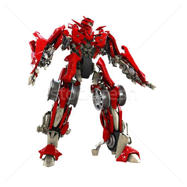 Transformador robô isolado branco 3d render metal Foto stock © anyunoff