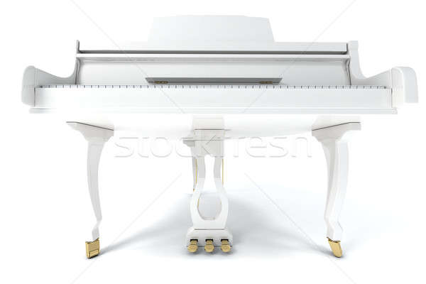 Kuyruklu piyano beyaz yalıtılmış ışık müzik klavye Stok fotoğraf © anyunoff