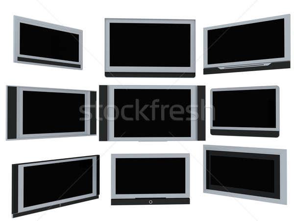 Tv kevés szélesvásznú 3d render fehér számítógép Stock fotó © anyunoff