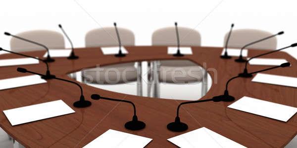 Konferans tablo büyük beyaz sandalye mobilya Stok fotoğraf © anyunoff