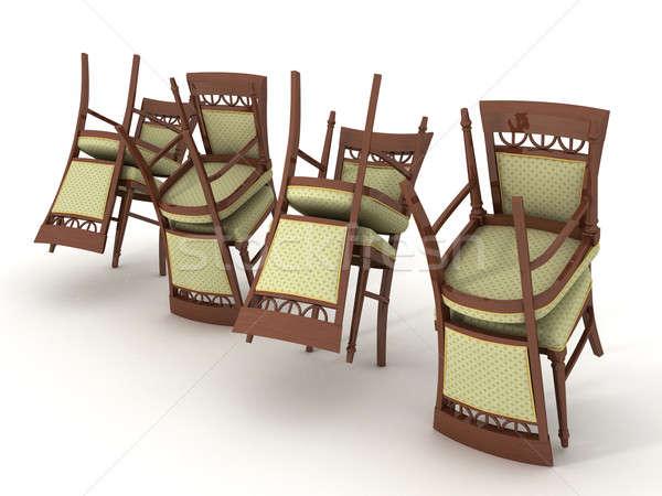 Stoelen ander witte kamer stoel meubels Stockfoto © anyunoff