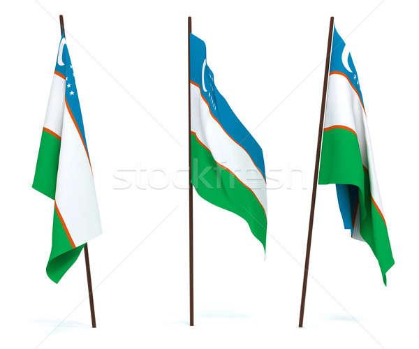 Bandiera Uzbekistan bianco cultura oggetti banner Foto d'archivio © anyunoff