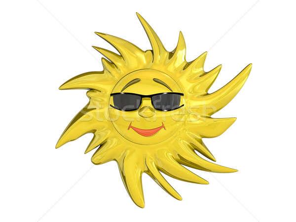 Karikatür güneş gözlük yalıtılmış beyaz gülümseme Stok fotoğraf © anyunoff