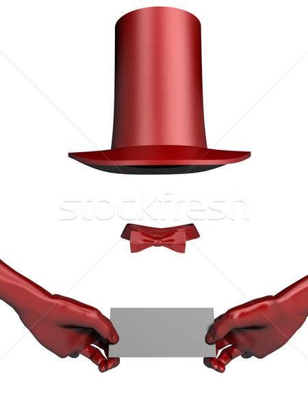 Mago sombrero guantes rojo tarjeta de visita manos Foto stock © anyunoff