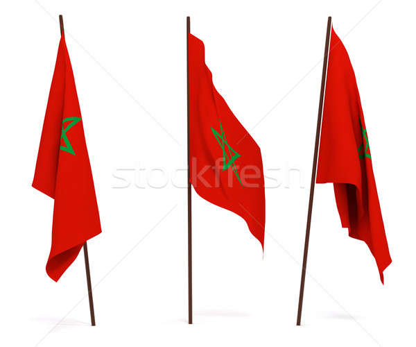 Bayrak Fas beyaz kültür nesneler afiş Stok fotoğraf © anyunoff