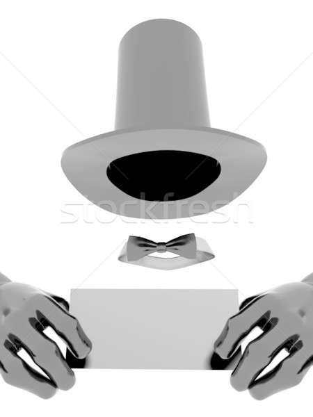Bűvész kalap kesztyű fekete névjegy kezek Stock fotó © anyunoff