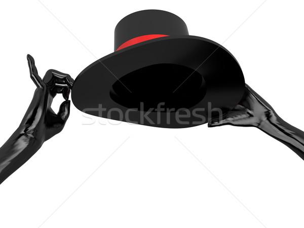 Ruházat kabaré kalap fekete kesztyű izolált fehér Stock fotó © anyunoff