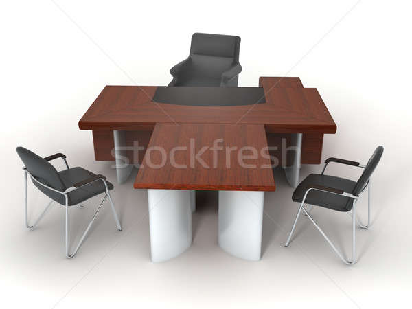Lavoro isolato bianco rendering 3d ufficio sedia Foto d'archivio © anyunoff