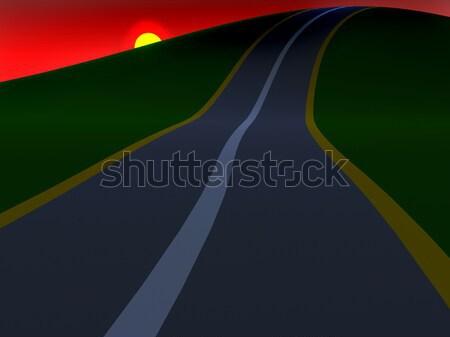 Carretera colinas reloj 3D resumen Foto stock © anyunoff
