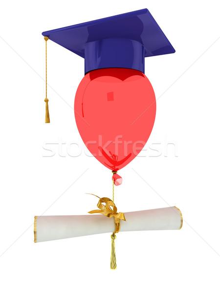 Baccalauréat cap ballon isolé blanche livre Photo stock © anyunoff