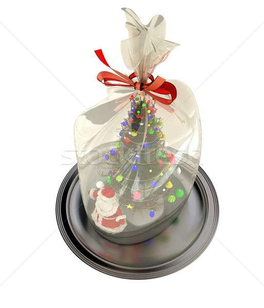 Kerstman geschenk zilver plaat 3d render geïsoleerd Stockfoto © anyunoff