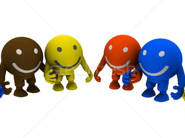 Grupo smileys tomados de las manos aislado blanco feliz Foto stock © anyunoff