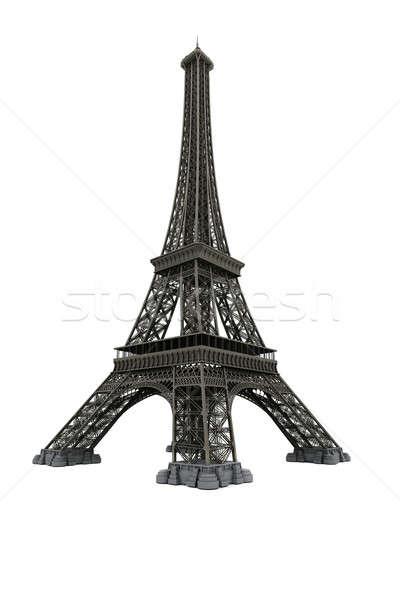 Eiffel-torony izolált fehér számítógépes grafika városi sziluett Stock fotó © anyunoff