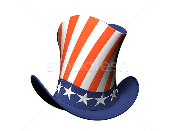 Karikatür şapka amerikan bayrağı yalıtılmış beyaz imzalamak Stok fotoğraf © anyunoff