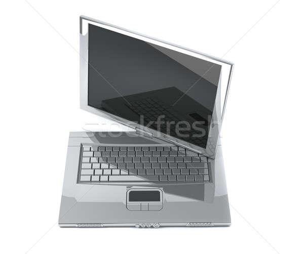 Cuaderno Screen gris aislado blanco oficina Foto stock © anyunoff