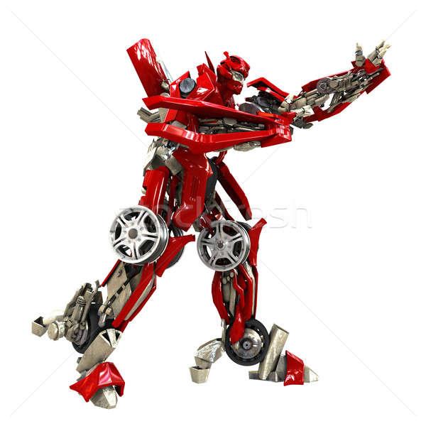 Transformator robot odizolowany biały 3d metal Zdjęcia stock © anyunoff