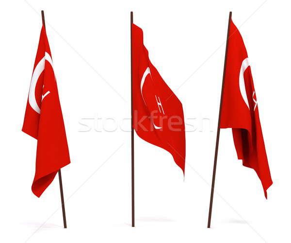 Bayrak Türkiye beyaz kültür nesneler afiş Stok fotoğraf © anyunoff