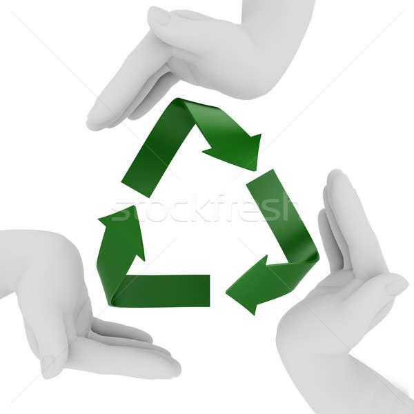 Recyklingu symbol 3d odizolowany biały zielone Zdjęcia stock © anyunoff