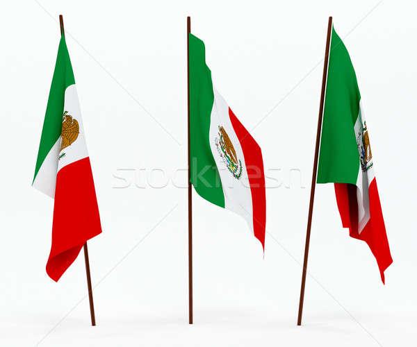 Vlag Mexico witte cultuur objecten banner Stockfoto © anyunoff