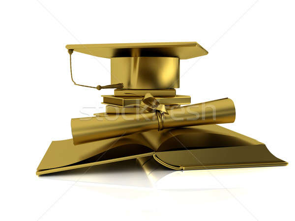 Vrijgezel goud gouden cap diploma Open Stockfoto © anyunoff