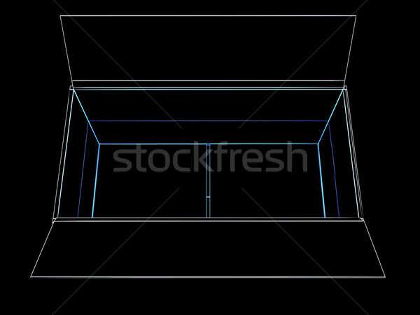 Açmak kutu hatları siyah soyut göğüs Stok fotoğraf © anyunoff
