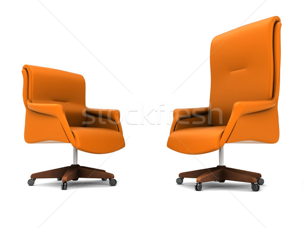 Chaise de bureau orange isolé blanche bureau travaux Photo stock © anyunoff