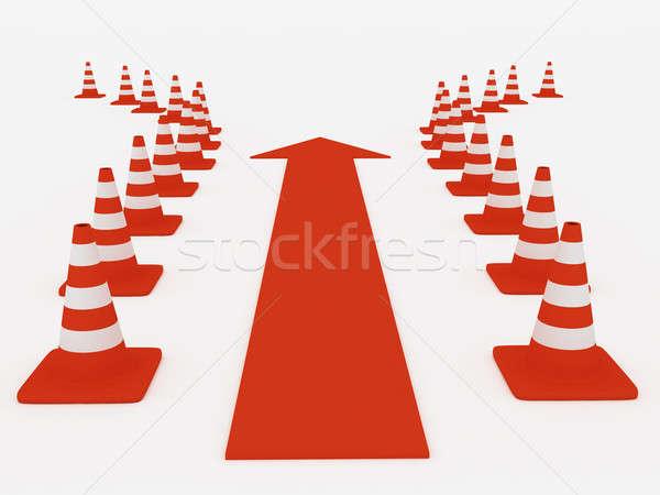 Obstáculo 3d luz construcción signo rojo Foto stock © anyunoff