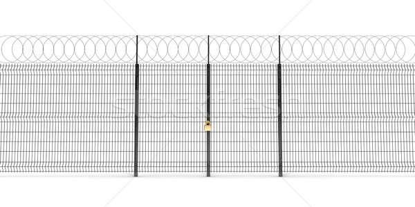 Metal çit dikenli tel kapılar kapalı altın Stok fotoğraf © anyunoff