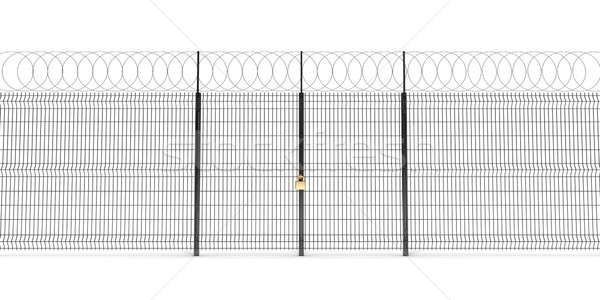 Metal cerca alambre de púas puertas cerrado dorado Foto stock © anyunoff