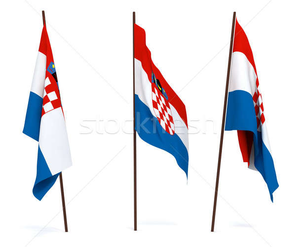 Bayrak Hırvatistan beyaz afiş bekçi hükümet Stok fotoğraf © anyunoff