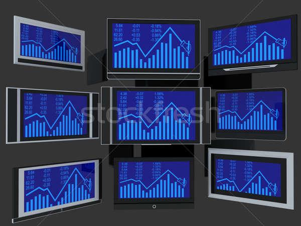 Tv kevés szélesvásznú 3d render szürke számítógép Stock fotó © anyunoff
