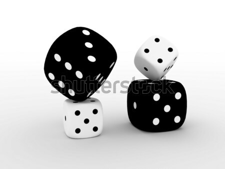Blanc noir jouer cubes cases isolé casino Photo stock © anyunoff