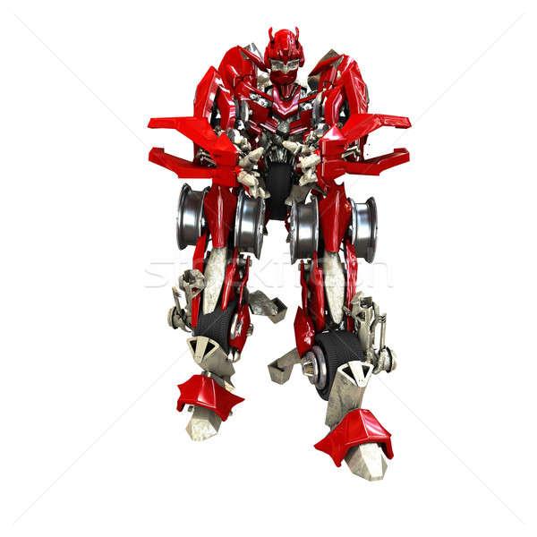 トランス ロボット 孤立した 白 3dのレンダリング 金属 ストックフォト © anyunoff